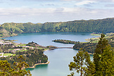 PORTUGAL, The Azores, Sao Miguel Island, a view of Lagoa Verde and Lagoa Azul meeting point