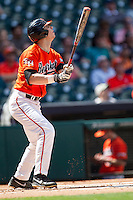 Sam Houston State Bearkats first baseman Ryan O'Hearn #27 watches his home run clear the fence during the NCAA baseball game against the Texas Tech Red Raiders on March 1, 2014 during the Houston College Classic at Minute Maid Park in Houston, Texas. The Bearkats defeated the Red Raiders 10-6. (Andrew Woolley/Four Seam Images)