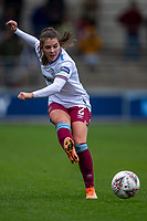 17th November 2019; Academy Stadium, Manchester, Lancashire, England; The FA Womens Super League, Manchester City Women versus West Ham United Women; Cecilie Kvamme of West Ham Women crosses the ball into the box - Editorial Use