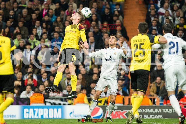 Borussia Dortmund GLucasz Piszczek, Real Madrid's Cristiano Ronaldo  during Champions League match between Real Madrid and Borussia Dortmund  at Santiago Bernabeu Stadium in Madrid , Spain. December 07, 2016. (ALTERPHOTOS/Rodrigo Jimenez) /NortePhoto.com