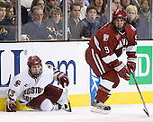Pat Gannon (Boston College - Arlington, MA), Jimmy Fraser (Harvard University - Port Huron, MI) -The Boston College Eagles defeated the Harvard University Crimson 3-1 in the first round of the 2007 Beanpot Tournament on Monday, February 5, 2007, at the TD Banknorth Garden in Boston, Massachusetts.  The first Beanpot Tournament was played in December 1952 with the scheduling moved to the first two Mondays of February in its sixth year.  The tournament is played between Boston College, Boston University, Harvard University and Northeastern University with the first round matchups alternating each year.