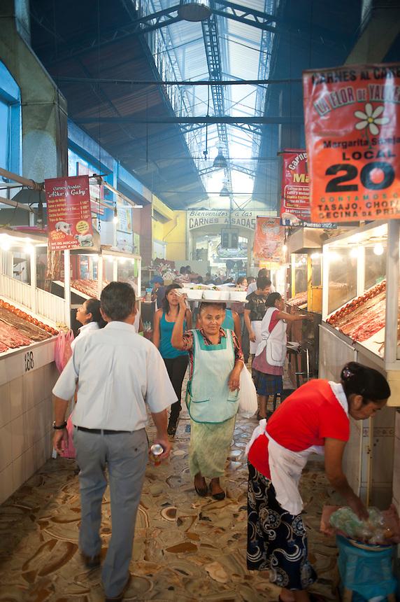 The smokey 20 de Noviembre food market in Oaxaca City, Oaxaca, Mexico