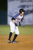 Jameson Fisher (11) of the Kannapolis Intimidators takes his lead off of second base against the Asheville Tourists at Kannapolis Intimidators Stadium on May 5, 2017 in Kannapolis, North Carolina.  The Tourists defeated the Intimidators 5-1.  (Brian Westerholt/Four Seam Images)