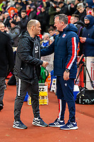 12th February 2020; Bet365 Stadium, Stoke, Staffordshire, England; English Championship Football, Stoke City versus Preston North End; Preston North End Manager Alex Neil and Stoke City Manager Michael O'Neill shake hands