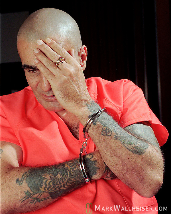 """Crazy"" Joe Spaziano on Death Row at Florida State Prison in Starke.President of the infamous motorcycle gang The Outlaws, Joseph ""Crazy Joe"" Spaziano sits on Death Row  April 9, 1996 at Florida State Prison in Raiford, Florida for the 1973 Altamonte Springs, Florida murder.  Spaziano survived 6 death warrants before pleading no-contest to second-degree murder and received time served before being released."