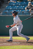 Lancaster JetHawks left fielder Vince Fernandez (8) follows through on his swing during a California League game against the San Jose Giants at San Jose Municipal Stadium on May 12, 2018 in San Jose, California. Lancaster defeated San Jose 7-6. (Zachary Lucy/Four Seam Images)
