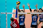 Wing spiker Risa Shinnabe (C) of Japan and Middle blocker Mai Okumura (R) of Japan block during the FIVB Volleyball World Grand Prix - Hong Kong 2017 match between Japan and Russia on 23 July 2017, in Hong Kong, China. Photo by Yu Chun Christopher Wong / Power Sport Images