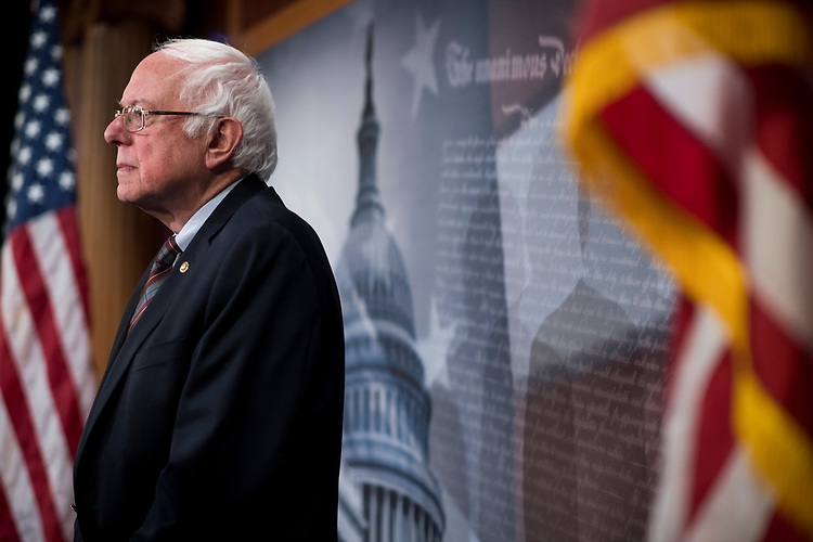 UNITED STATES - MARCH 14: Sen. Bernie Sanders, I-Vt., participates in the Senate Democrats' news conference to unveil the FAMILY Act on Tuesday, March 14, 2017. (Photo By Bill Clark/CQ Roll Call)