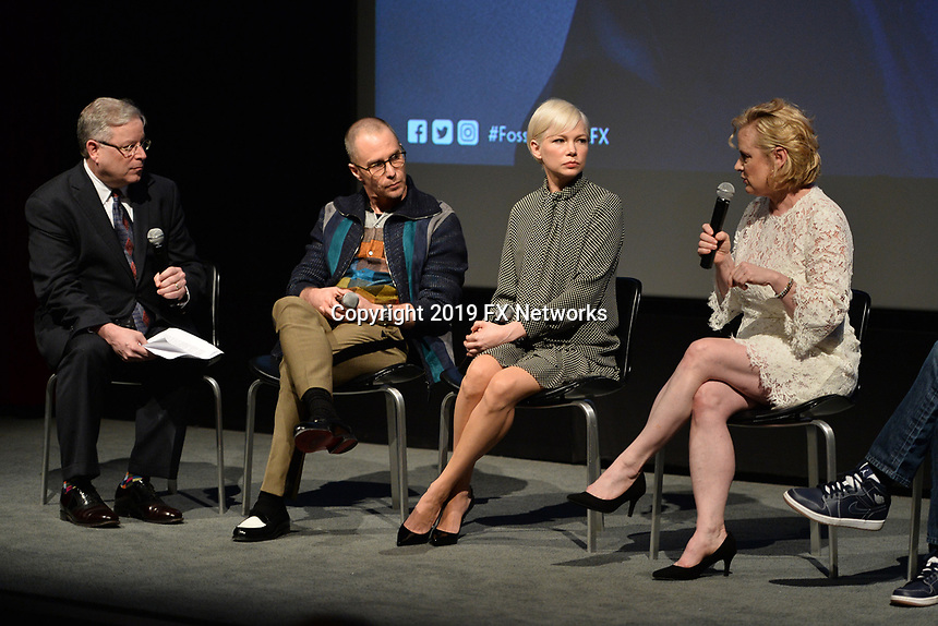 """NEW YORK - APRIL 7: (L-R) Moderator Matt Roush, Sam Rockwell, Michelle Williams and Nicole Fosse attend the Q&A after the screening of FX's """"Fosse Verdon"""" presented by FX Networks, Fox 21 Television Studios, and FX Productions at the Museum of Modern Art on April 7, 2019 in New York City. (Photo by Anthony Behar/FX/PictureGroup)"""