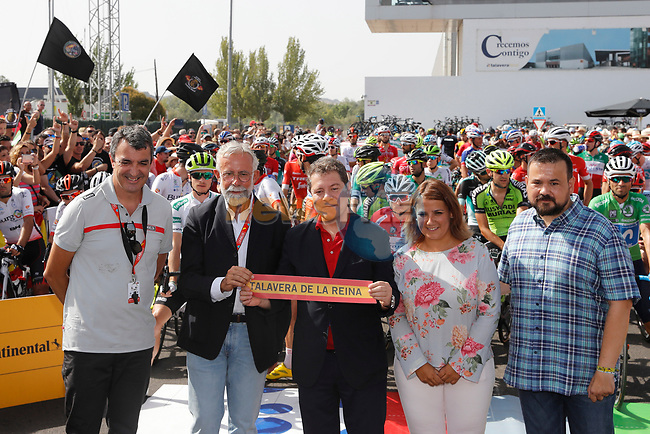 Ready for the start of Stage 9 of the La Vuelta 2018, running 200.8km from Talavera de la Reina to La Covatilla, Spain. 2nd September 2018.<br /> Picture: Unipublic/Photogomezsport   Cyclefile<br /> <br /> <br /> All photos usage must carry mandatory copyright credit (© Cyclefile   Unipublic/Photogomezsport)