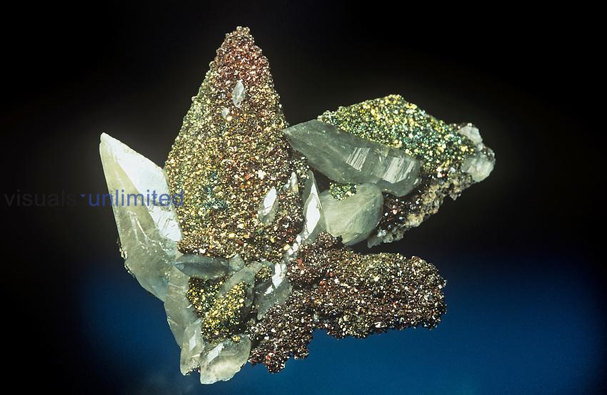 Marcasite on Calcite with Calcite, Missouri, USA.