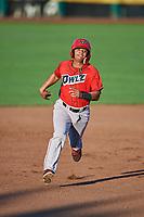 Jeyson Sanchez (22) of the Orem Owlz hustles towards third base against the Ogden Raptors at Lindquist Field on September 2, 2017 in Ogden, Utah. Ogden defeated Orem 16-4. (Stephen Smith/Four Seam Images)