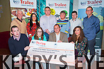 Front l-r Patrick Keevan (Social Care Award), Christina Roche (Education Award), John Foley for  Evan Foley (Education Award), Ava Lynch (Education Award).  Back l-r Tom Lawlor (Chairman Tralee Credit Union), Sheena Crowley (Dan Kelleher Memorial Award), Gerard O'Brien (Dan Kelleher Memorial Award), Margaret Kelleher (Dan Kelleher's Daughter), Damien Kissane (Education Award), George Lowe (Youth Officer Tralee Credit Union) at the Tralee Credit Union Awards night at the Manor West Hotel on Friday