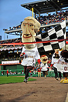 29 March 2008: Mascot George Washington wins the inter-inning presidential race during an exhibition game between the Baltimore Orioles and the Washington Nationals at Nationals Park, in Washington, DC. The matchup was the first professional baseball game played in the new Nationals Park, prior to the upcoming official opening day inaugural game. The Nationals defeated the Orioles 3-0...Mandatory Photo Credit: Ed Wolfstein Photo