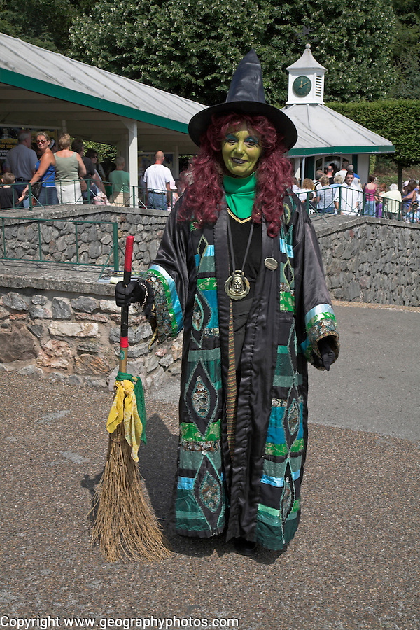 Woman dressed as witch, Wookey Hole, Somerset, England