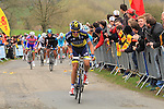 Riders including Alberto Contador (ESP) Team Saxo-Tinkoff tackle the Cote de la Redoute during the 2013 Liege-Bastogne-Liege race. 21st April 2013.