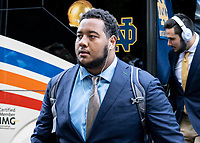 ATHENS, GA - SEPTEMBER 21: Aaron Banks #69 of the Notre Dame Fighting Irish arrives prior to the game during a game between Notre Dame Fighting Irish and University of Georgia Bulldogs at Sanford Stadium on September 21, 2019 in Athens, Georgia.