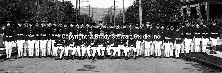 McKeesport PA: View of Boy's Brigade posing for a group photograph. Brady Stewart was part of the Methodist Boy's Brigade of McKeesport. The Boy's Brigade was a church-based youth organization started in the late 1800s in Scotland - 1903
