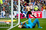 Christopher Schindler of Huddersfield Town celebrates after scoring the winning penalty ahead of a dejected Ali Al-Habsi vduring the SkyBet Championship Play Off Final match at the Wembley Stadium, England. Picture date: May 29th, 2017.Picture credit should read: Matt McNulty/Sportimage