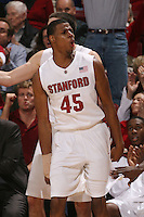 STANFORD, CA - JANUARY 6:  Jeremy Green of the Stanford Cardinal celebrates after putting Stanford ahead by 7 in the final minutes during Stanford's 54-53 win over the USC Trojans on January 6, 2009 at Maples Pavilion in Stanford, California.