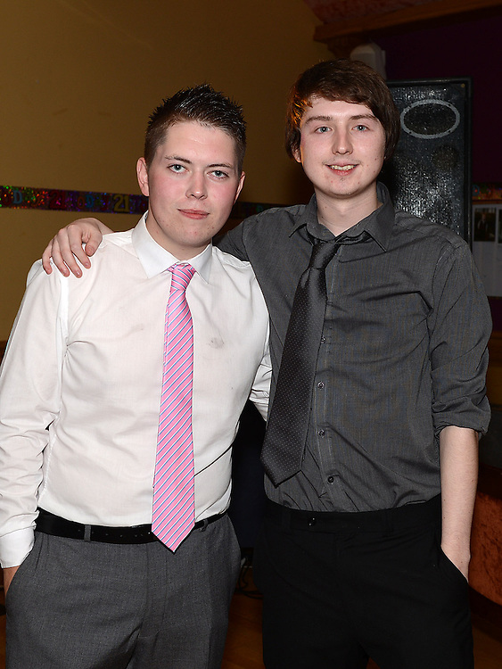 John Tiernan and Luke O'Brien celebrating their 21st birthdays in the Thatch. Photo:Colin Bell/pressphotos.ie