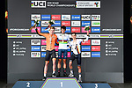 The final podium silver Enzo Leijnse of The Netherlands, gold Antonio Tiberi of Italy and bronze Marco Brenner of Germany on the podium at the end of the Men Junior Individual Time Trial of the UCI World Championships 2019 running 27.6km from Harrogate to Harrogate, England. 23rd September 2019.<br /> Picture: Alex Broadway/SWPix.com | Cyclefile<br /> <br /> All photos usage must carry mandatory copyright credit (© Cyclefile | Alex Broadway/SWPix.com)