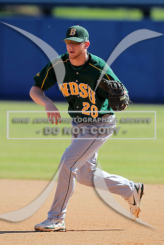 North Dakota State Bisons Zach Wentz #20 during a game vs Bradley Braves at Chain of Lakes Park in Winter Haven, Florida;  March 17, 2011.  Bradley defeated North Dakota State 6-5.  Photo By Mike Janes/Four Seam Images