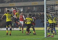 Fleetwood Town's Ashley Eastham heads at goal<br /> <br /> Photographer Kevin Barnes/CameraSport<br /> <br /> The EFL Sky Bet League One - Oxford United v Fleetwood Town - Tuesday 10th April 2018 - Kassam Stadium - Oxford<br /> <br /> World Copyright &copy; 2018 CameraSport. All rights reserved. 43 Linden Ave. Countesthorpe. Leicester. England. LE8 5PG - Tel: +44 (0) 116 277 4147 - admin@camerasport.com - www.camerasport.com
