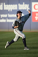 Ryan Rolison (14) of the Lancaster JetHawks warms up in the outfield prior to the game against the Rancho Cucamonga Quakes at LoanMart Field on June 4, 2019 in Rancho Cucamonga, California. (Larry Goren/Four Seam Images)