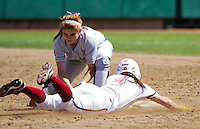 STANFORD, CA - April 3, 2011:  Sarah Hassman steals second during Stanford's 2-0 loss to Arizona at Stanford, California on April 3, 2011.