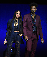 LAS VEGAS, NV - APRIL 23: (L-R) Actors Lex Scott Davis and Trevor Jackson onstage at the Sony Pictures Entertainment presentation at CinemaCon 2018 at The Colosseum at Caesars Palace on April 23, 2018 in Las Vegas, Nevada. (Photo by Frank Micelotta/PictureGroup)