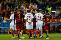 Referee shows red card to FC Barcelona Marcheranonduring the Final of Copa del Rey match between FC Barcelona and SevillaFC at the Vicente Calderon Stadium in Madrid, Sunday, May 22, 2016.
