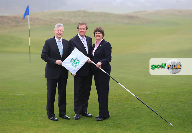 European Tour CEO George O'Grady (Centre), Arleen Foster Enterprise, Trade and Investment Minister, Rt. Hon. Peter robinson First Minister MLA at the Irish Open 2015 announcement, Royal County Down Golf Club, Newcastle, Down,Ireland.<br /> Picture: Fran Caffrey www.golffile.ie