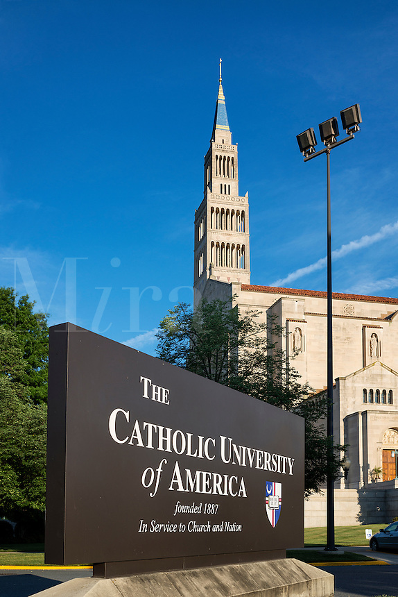 The Catholic University of America campus with National Shrine Basilica in background, Washington DC, USA