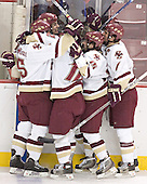 BC celebrates - Tim Filangieri, Brian Boyle, Chris Collins, Stephen Gionta, Peter Harrold - The Boston College Eagles completed a shutout sweep of the University of Vermont Catamounts on Saturday, January 21, 2006 by defeating Vermont 3-0 at Conte Forum in Chestnut Hill, MA.