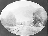 Looking north toward depot.  South leg of wye curves off to left.<br /> D&amp;RGW  Cimarron, CO  Taken by Price, Earl