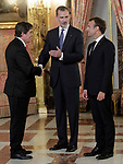King Felipe VI of Spain (c), receives in the Royal Palace the President of the French Republic Emmanuel Macron (r) in presence of Spanish writer and Director of Cervantes Institute Luis Garcia Montero. July 26,2018. (ALTERPHOTOS/Acero)