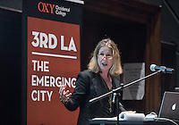 """Christopher Hawthorne hosts as Third Los Angeles continues with """"Three L.A.'s, Three Olympiads"""" featuring Bill Hanway, head of global sports at AECOM and lead designer of the 2024 L.A. Olympic bid, Catherine Gudis associate professor of history and director of the public history program at UC Riverside, Renata Simril, president of LA84 Foundation and Frank Guridy visiting associate professor of history, Columbia University (previous Oxy Billington professor) and author of the forthcoming book Assembly in the Fragmented City: A History of the Los Angeles Memorial Coliseum. The panel discussed the Olympics in L.A. and L.A.'s bid to host the 2024 Summer Olympics. March 30, 2016 in Choi Auditorium.<br /> (Photo by Marc Campos, Occidental College Photographer)"""