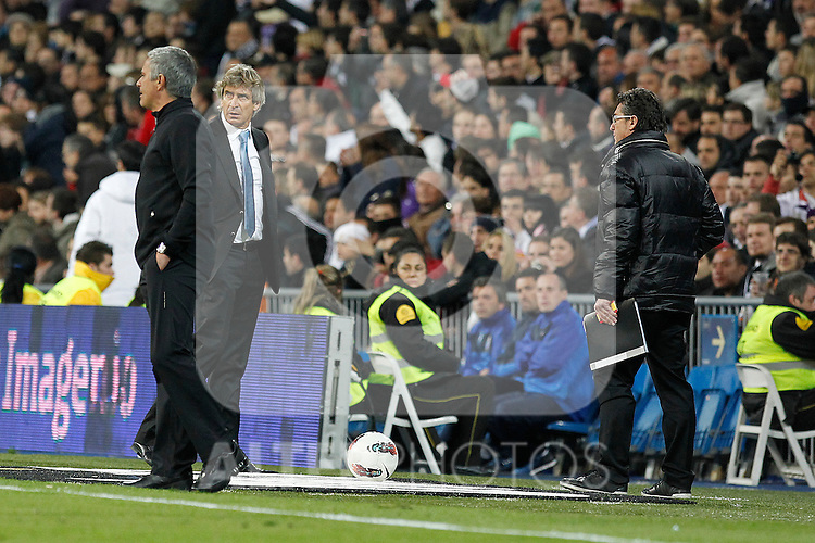 Real Madrid's Jose Mourinho and Malaga's Manuel Pellegrini during la Liga match on march 18th 2012...Photo: Alex Cid-Fuentes / ALFAQUI
