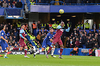 Angelo Ogbonna of West Ham United manages to put off Olivier Giroud Of Chelsea FC during Chelsea vs West Ham United, Premier League Football at Stamford Bridge on 30th November 2019