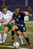 United States (USA) midfielder Carli Lloyd (11) and Republic of Ireland (IRL) defender Alisha Moran (3). The women's national team of the United States (USA) defeated the Republic of Ireland (IRL) 1-0 during an international friendly at Giants Stadium in East Rutherford, NJ on September 17, 2008. Photo by Howard C. Smith/isiphotos.com