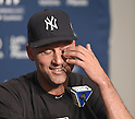 Derek Jeter (Yankees),<br /> SEPTEMBER 25, 2014 - MLB :<br /> Derek Jeter of the New York Yankees speaks during the press conference after the Major League Baseball game against the Baltimore Orioles at Yankee Stadium in the Bronx, New York, United States. (Photo by AFLO)