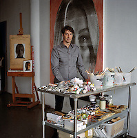 The artist Richard Phillips poses for a portrait in his Chelsea studio.