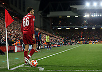 Liverpool's Trent Alexander-Arnold walks away from the ball moments before taking the quick corner kick from which Divock Origi scored the winning goal<br /> <br /> Photographer Rich Linley/CameraSport<br /> <br /> UEFA Champions League Semi-Final 2nd Leg - Liverpool v Barcelona - Tuesday May 7th 2019 - Anfield - Liverpool<br />  <br /> World Copyright © 2018 CameraSport. All rights reserved. 43 Linden Ave. Countesthorpe. Leicester. England. LE8 5PG - Tel: +44 (0) 116 277 4147 - admin@camerasport.com - www.camerasport.com