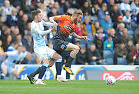 Swansea City's Oli McBurnie under pressure from Blackburn Rovers' Joe Rothwell<br /> <br /> Photographer Kevin Barnes/CameraSport<br /> <br /> The EFL Sky Bet Championship - Blackburn Rovers v Swansea City - Sunday 5th May 2019 - Ewood Park - Blackburn<br /> <br /> World Copyright © 2019 CameraSport. All rights reserved. 43 Linden Ave. Countesthorpe. Leicester. England. LE8 5PG - Tel: +44 (0) 116 277 4147 - admin@camerasport.com - www.camerasport.com