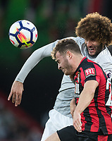Marouane Fellaini of Man Utd & Ryan Fraser of AFC Bournemouth during the Premier League match between Bournemouth and Manchester United at the Goldsands Stadium, Bournemouth, England on 18 April 2018. Photo by Andy Rowland.