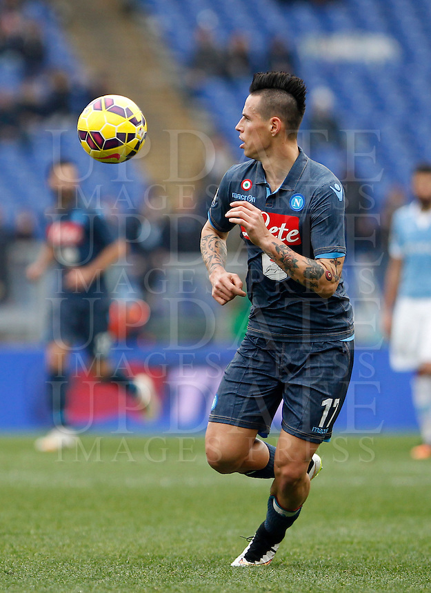 Calcio, Serie A: Lazio vs Napoli. Roma, stadio Olimpico, 18 gennaio 2015.<br /> Napoli&rsquo;s Marek Hamsik in action during the Italian Serie A football match between Lazio and Napoli at Rome's Olympic stadium, 18 January 2015.<br /> UPDATE IMAGES PRESS/Isabella Bonotto