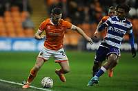 Blackpool's Oliver Turton under pressure from Reading's Danny Loader<br /> <br /> Photographer Kevin Barnes/CameraSport<br /> <br /> Emirates FA Cup Third Round Replay - Blackpool v Reading - Tuesday 14th January 2020 - Bloomfield Road - Blackpool<br />  <br /> World Copyright © 2020 CameraSport. All rights reserved. 43 Linden Ave. Countesthorpe. Leicester. England. LE8 5PG - Tel: +44 (0) 116 277 4147 - admin@camerasport.com - www.camerasport.com