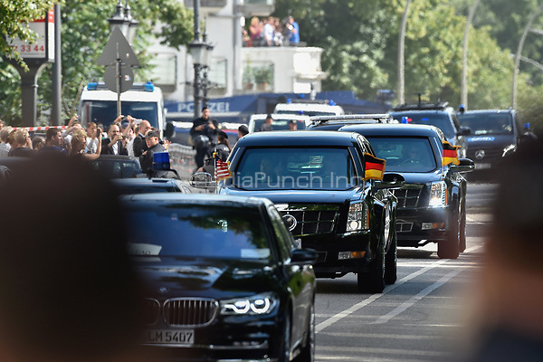 The armoured limousine carrying the president of the US, Donald Trump, in Hamburg, Germany, 6 July 2017. The heads of state of the G20 countries are converging on Hamburg for the G20 summit (7-8 July 2017). Photo: Klaus-Dietmar Gabbert/dpa /MediaPunch ***FOR USA ONLY***