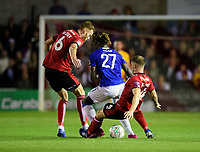 Lincoln City's Cian Bolger, left, and Lincoln City's Michael O'Connor vies for possession with Everton's Moise Kean<br /> <br /> Photographer Chris Vaughan/CameraSport<br /> <br /> The Carabao Cup Second Round - Lincoln City v Everton - Wednesday 28th August 2019 - Sincil Bank - Lincoln<br />  <br /> World Copyright © 2019 CameraSport. All rights reserved. 43 Linden Ave. Countesthorpe. Leicester. England. LE8 5PG - Tel: +44 (0) 116 277 4147 - admin@camerasport.com - www.camerasport.com